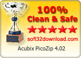 Acubix PicoZip 4.02 Clean & Safe award