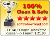 ECTACO Voice Translator Russian -> French 1.21.90 Clean & Safe award