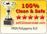 MSN Polygamy 8.0 Clean & Safe award