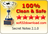 Secret Notes 2.1.0 Clean & Safe award
