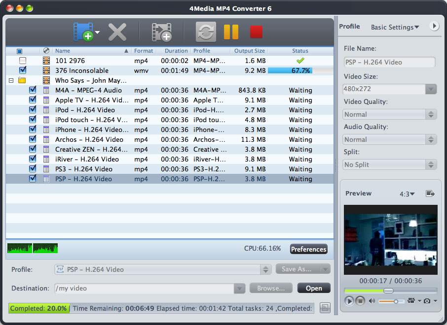 4Media MP4 Converter 7.7.2.20130805 Mac software screenshot