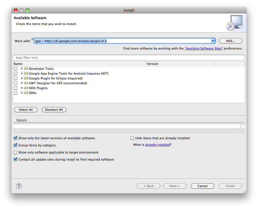 ADT Plugin for Eclipse 22.6.2 Mac software screenshot