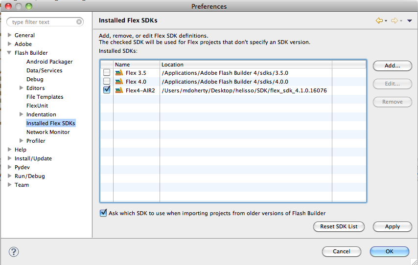 Adobe AIR SDK 14.0.0.110 Mac software screenshot