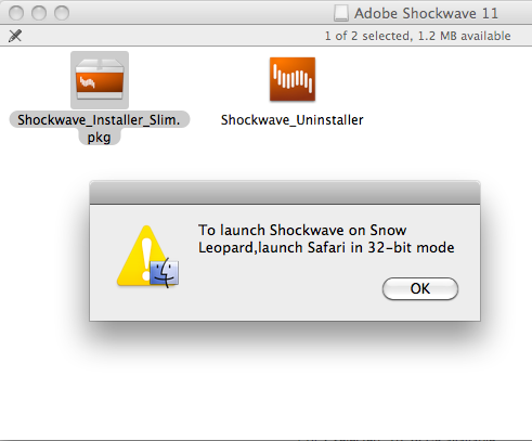 Adobe Shockwave Player 12.1.2.152 Mac software screenshot