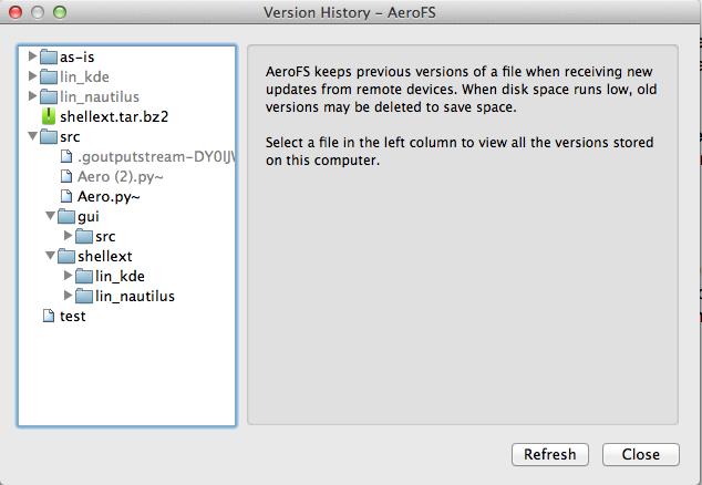 AeroFS 0.4.154 Beta Mac software screenshot
