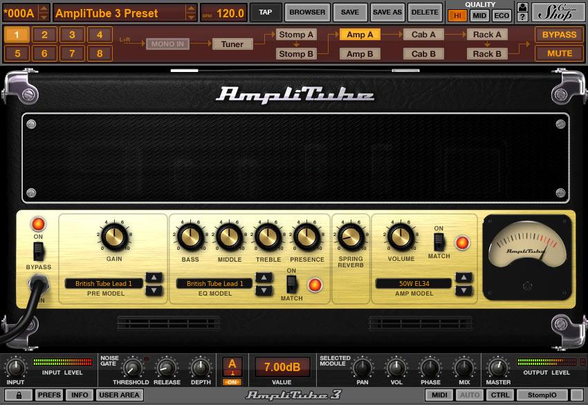 AmpliTube 3.11.2 Mac software screenshot