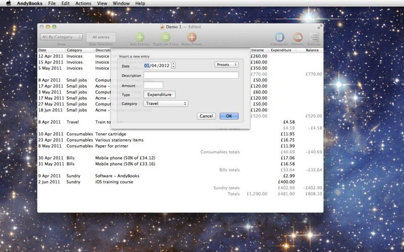 AndyBooks 1.5.1 Mac software screenshot