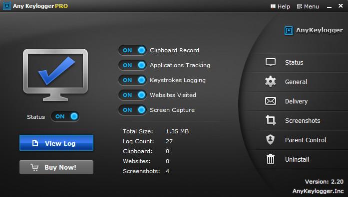 Any Keylogger 2.3 Mac software screenshot