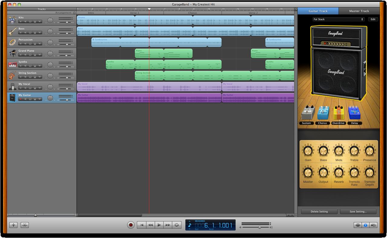 Apple GarageBand 10.0.1 Mac software screenshot