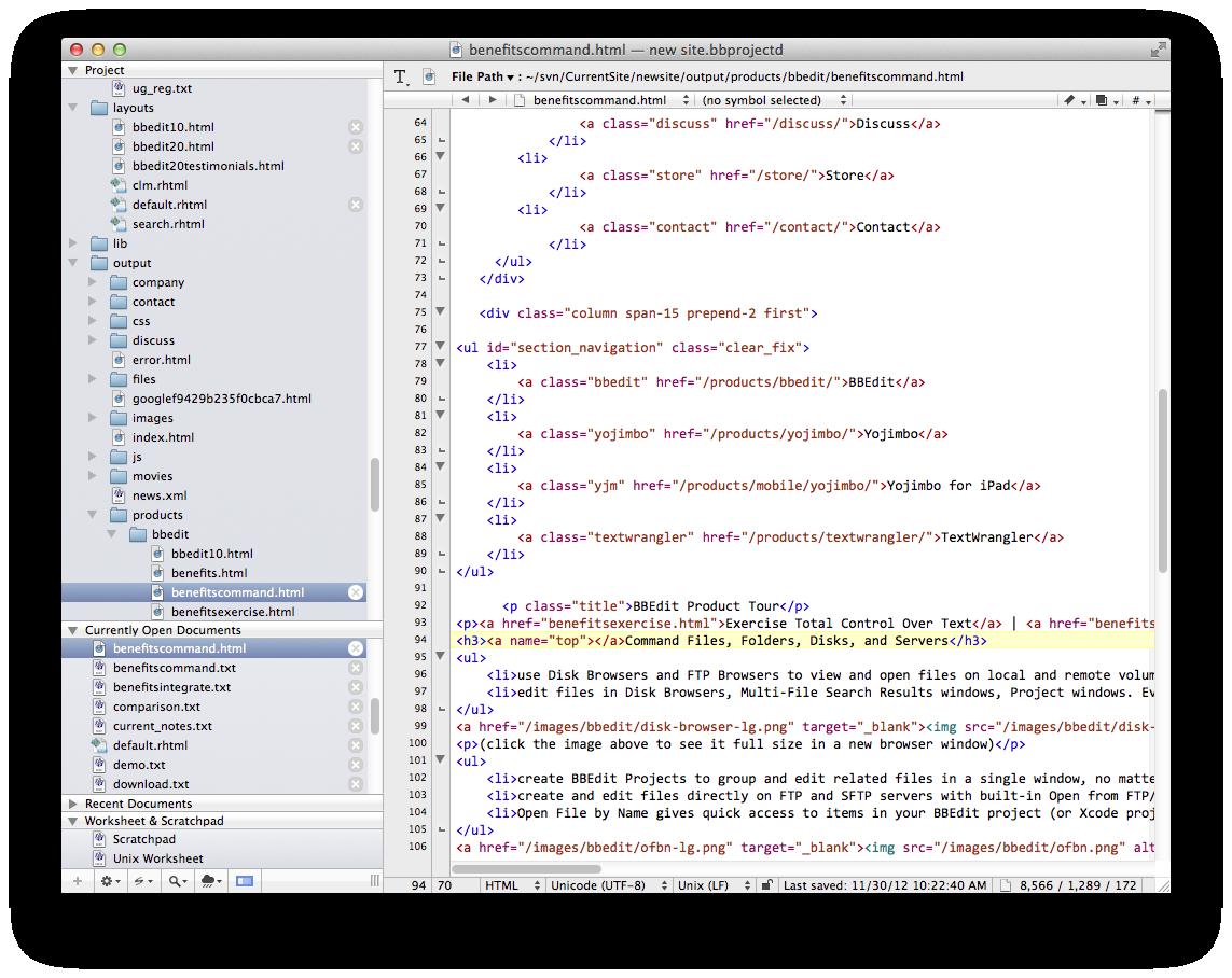 BBEdit 10.5.12 Mac software screenshot
