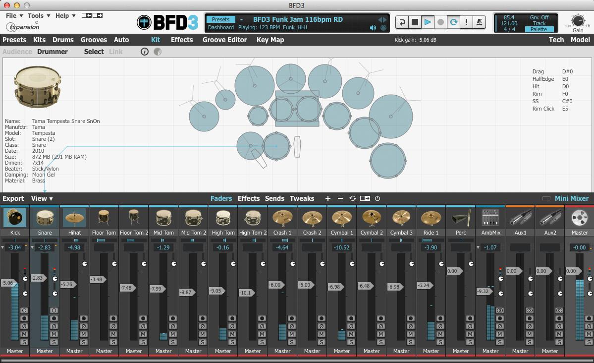 BFD3 3.0 Mac software screenshot