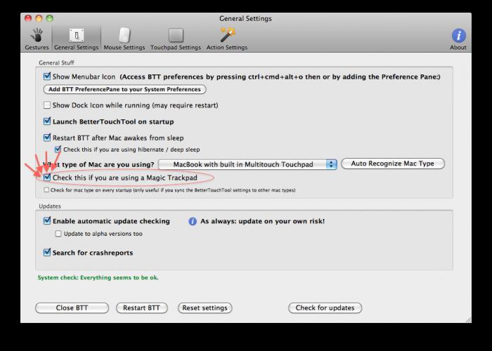 BetterTouchTool 0.9951 Mac software screenshot