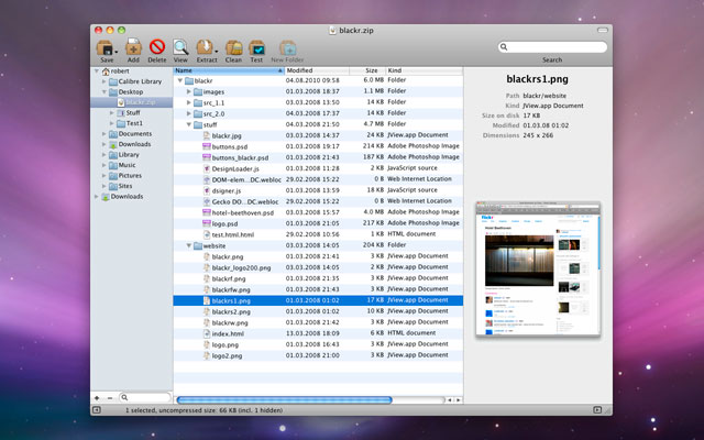BetterZip 2.3.2 Mac software screenshot