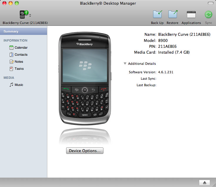 BlackBerry Desktop Manager 2.4.0.18 Mac software screenshot