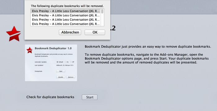 Bookmark Deduplicator 1.2 Mac software screenshot