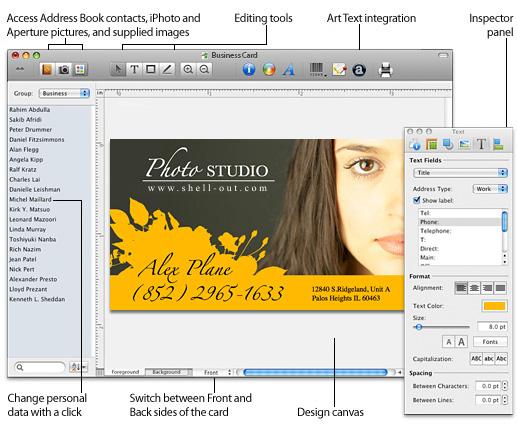 Business Card Composer 5.1.7 Mac software screenshot