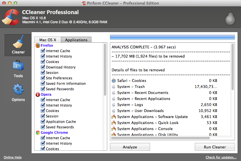 CCleaner 1.08.302 Mac software screenshot