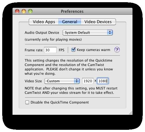 CamTwist 2.4 Mac software screenshot