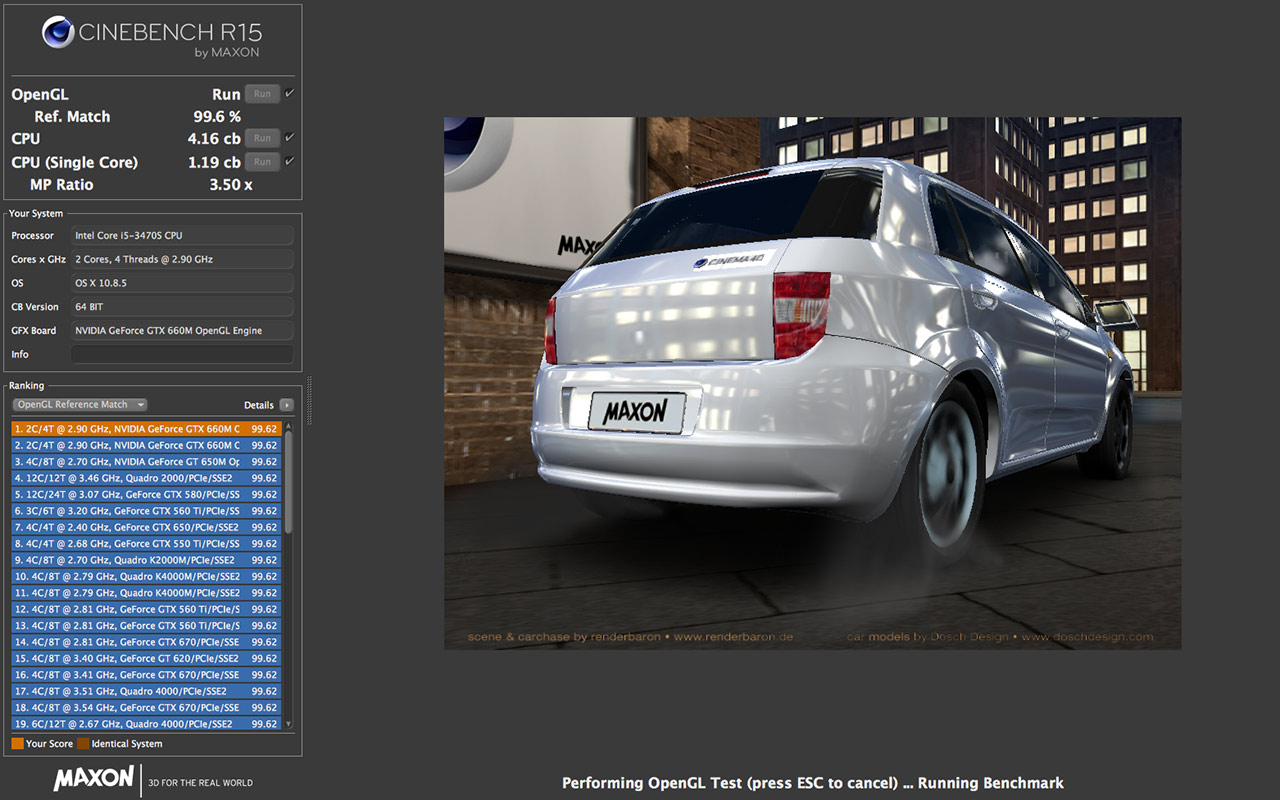 Cinebench 15.0 Mac software screenshot