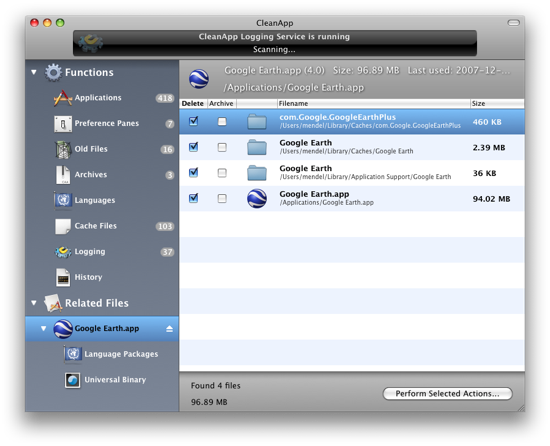 CleanApp 4.0.8 Mac software screenshot
