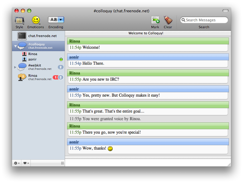 Colloquy 2.4.2 Build 5815 Mac software screenshot