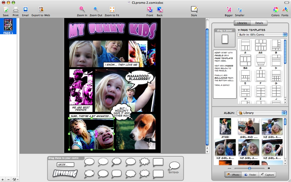 Comic Life 3.0.5.29752 Mac software screenshot