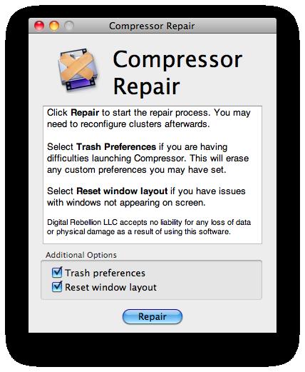 Compressor Repair 2.2.9 Mac software screenshot