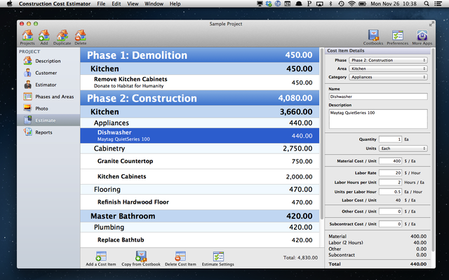 Construction Cost Estimator 1.6.3 Mac software screenshot