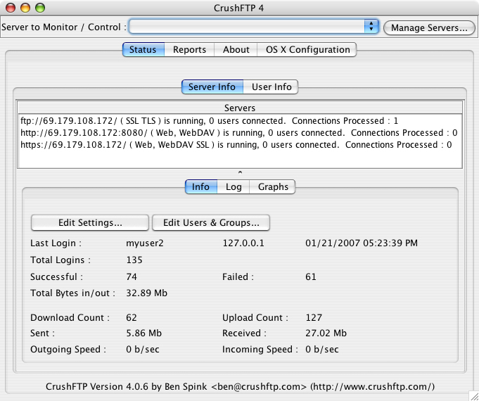 CrushFTP 6.2.0 Mac software screenshot
