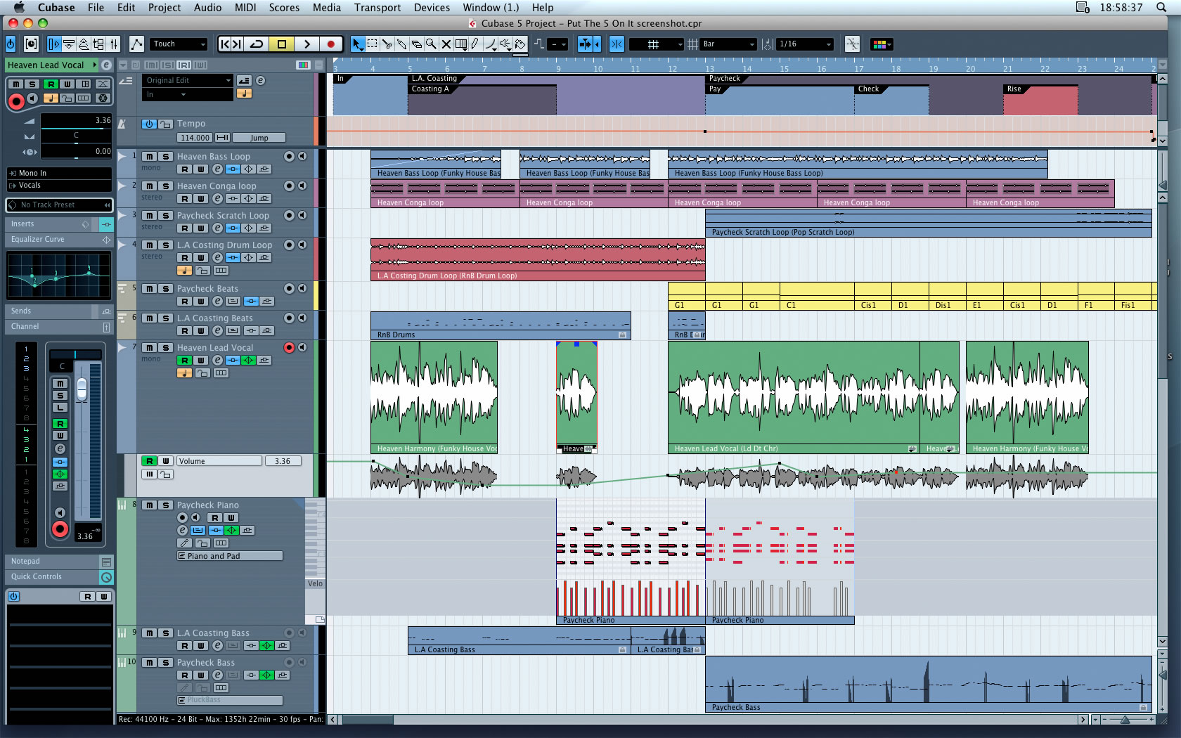 Cubase 7.5.10 Mac software screenshot