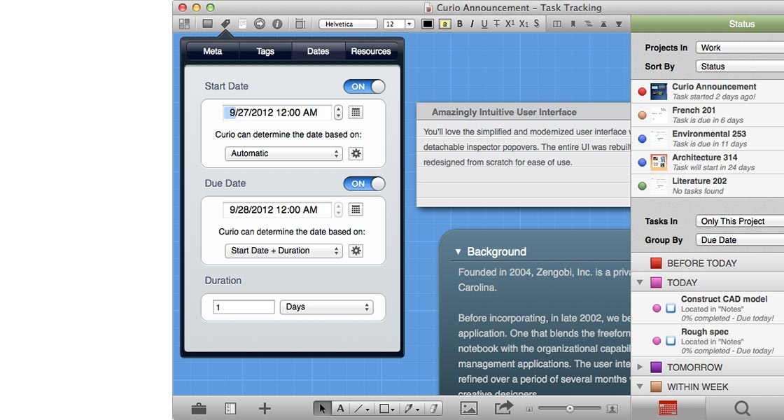 Curio 9.1.1 Mac software screenshot