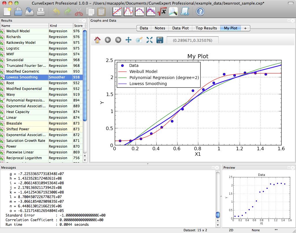 CurveExpert Professional 1.6.7 Mac software screenshot