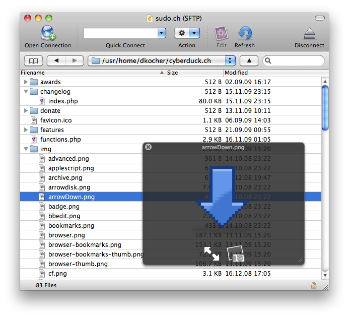 Cyberduck 4.5.2 Mac software screenshot