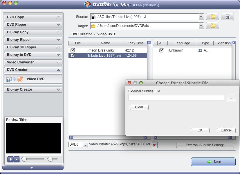 DVDFab DVD Creator 8.2.2.6 Mac software screenshot