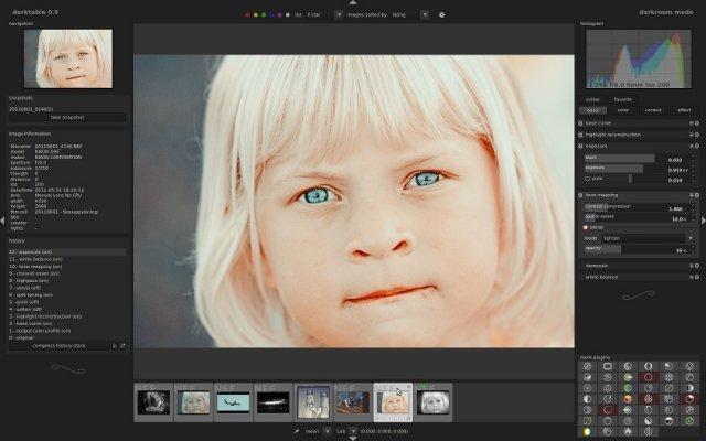 Darktable 1.1.4 Mac software screenshot