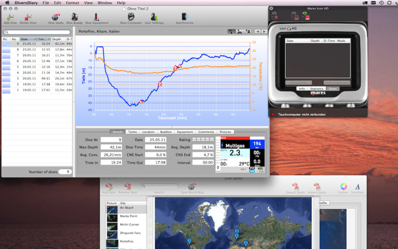 DiversDiary 1.4.3 Mac software screenshot