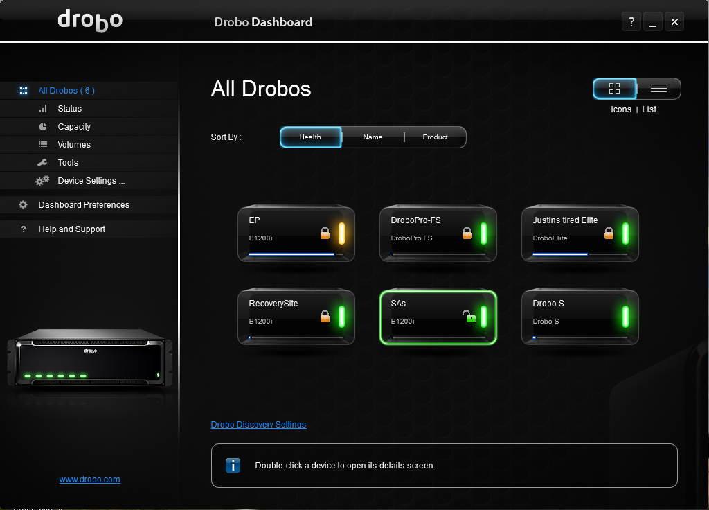 Drobo Dashboard 2.5.2 Build 64171 Mac software screenshot