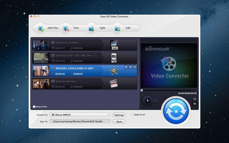 Easy HD Video Converter 5.1.8 Mac software screenshot