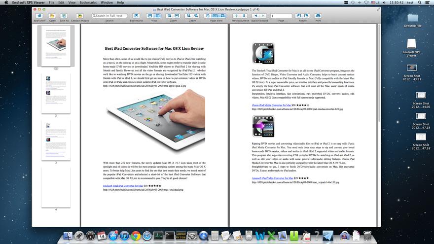 Enolsoft XPS Viewer 2.3.0 Mac software screenshot