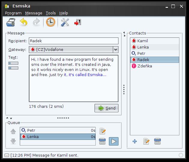 Esmska 1.5.0 Mac software screenshot