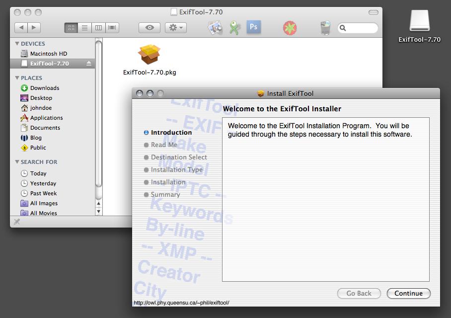 ExifTool 9.22 Mac software screenshot