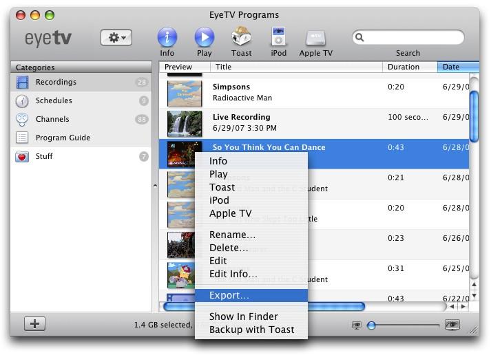 EyeTV 3.6.3 Mac software screenshot