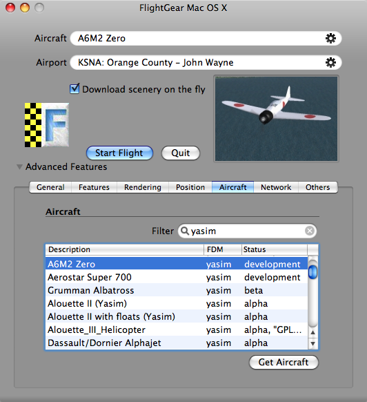 FlightGear 2.12.1 Mac software screenshot