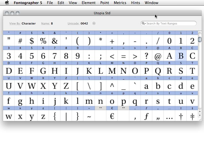 Fontographer 5.2.3.4868 Mac software screenshot
