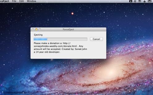 ForceEject 1.1 Mac software screenshot
