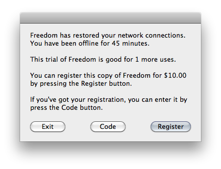 Freedom 0.7 Mac software screenshot