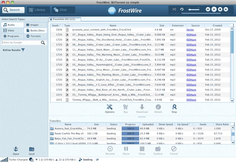 FrostWire 5.7.6 Mac software screenshot