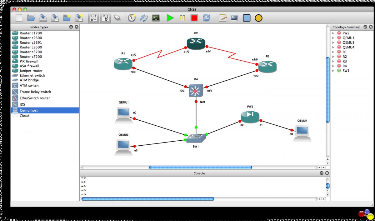 GNS3 0.8.7 Mac software screenshot