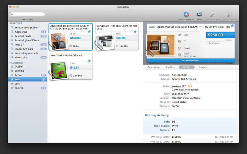 GarageBuy 3.0.1 Mac software screenshot