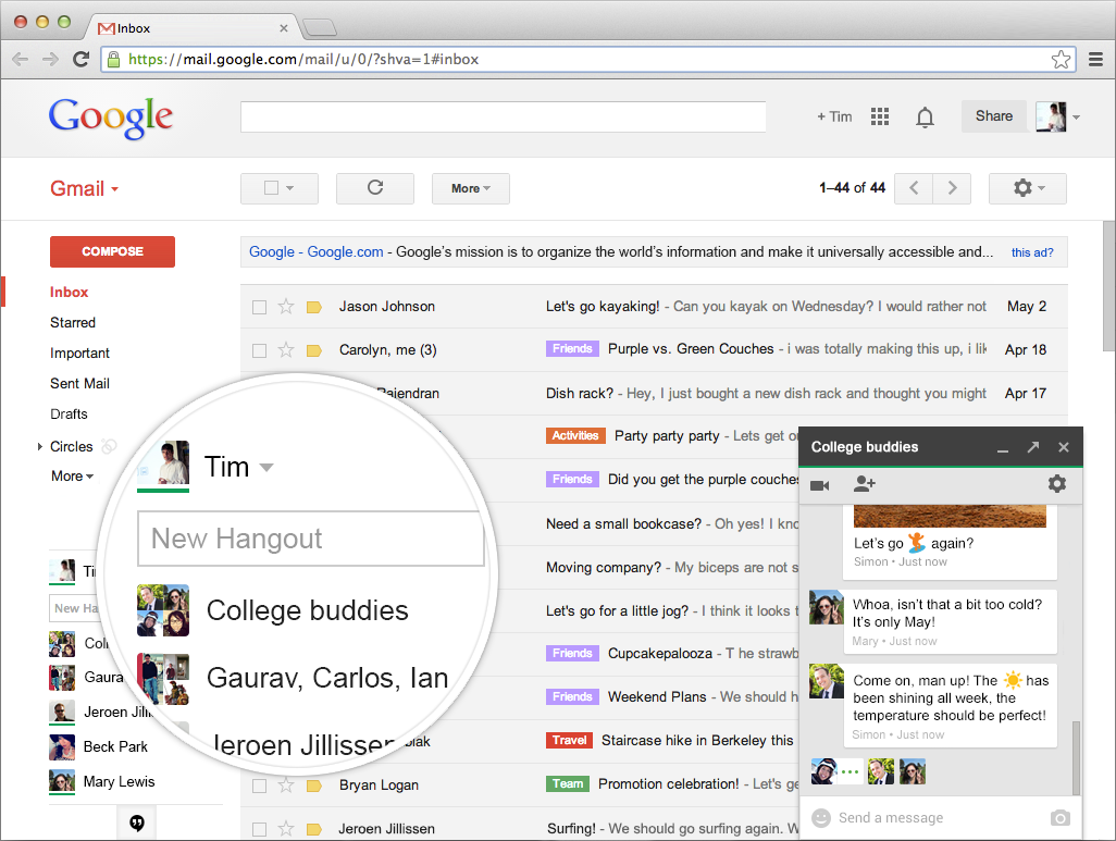 Hangouts 2013.1016.433.1 Mac software screenshot